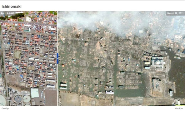 Japanese Tsunami Damage - Satellite Photos Before & After